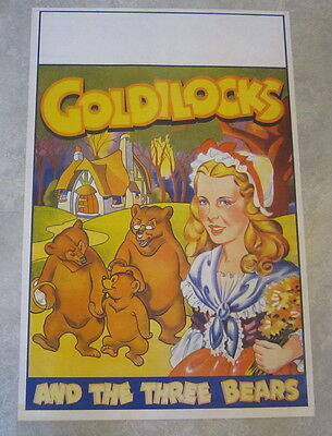 Original Old Vintage 1930's GOLDILOCKS and the Three Bears THEATRE Show POSTER