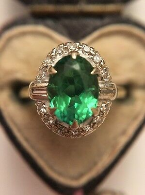 Vintage 18ct Yellow Gold Diamond And Emerald Stunning Large Dress Ring