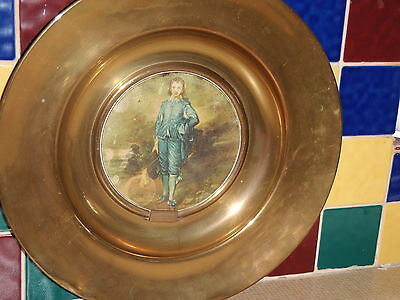 Antique Brass Plaque Gainsboroughs 'the Blue Boy' Trafford Old Masters No 1