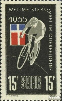 Saar 357I (complete.issue.), M u.e connected fine used / cancelled 1955 cyclist