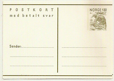 1960s NORWAY 1.30+1.30 POSTAL STATIONERY REPLY CARD MINT UNUSED