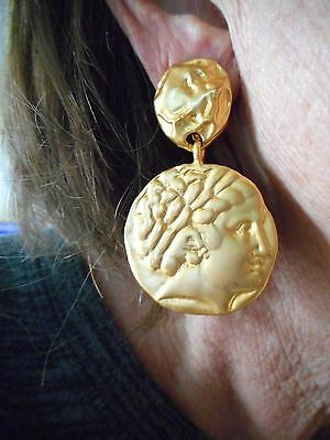Authentic Vintage 1980's Oversize Gold Tone GREEK Clip Earrings