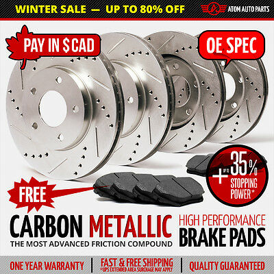 2014 2015 Chevy Camaro V6 Slotted Drilled Rotor & Metallic Pads F+R