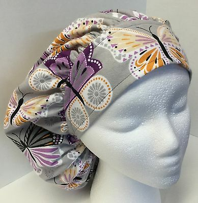Flannel Purple Butterfly Size: Large Medical Bouffant OR Scrub Cap Surgery Hat