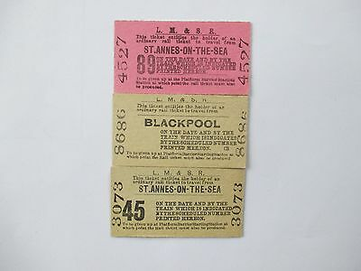 3 X LM&SR St Annes on the Sea & Blackpool Tickets
