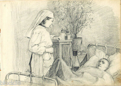 1941 NURSE AND INJURED SOLDIER IN HOSPITAL drawing by Russian artist S.Pichugin