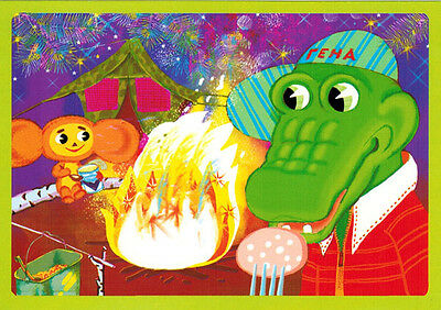 CHEBURASHKA AND CROCODILE GENA ARE CAMPING Modern Russian card with song