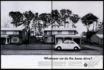 1959 VW Volkswagen Beetle classic car photo BIG vintage print ad