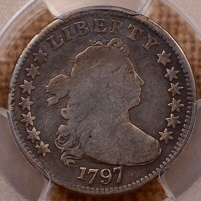 1797 JR-2 R4 13 Star Draped Bust dime, PCGS VG8, Tough!   DavidKahnRareCoins