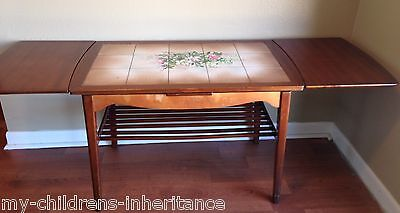 Mid Century Danish Teak Expandable Hand Painted Tile Coffee Table Denmark Super