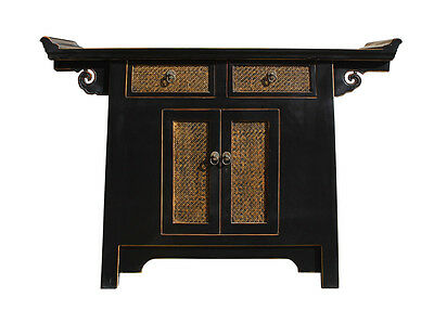 Chinese Black Rattan Altar Console Side Table Cabinet cs2295