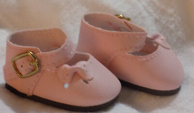 """Doll Shoes 13/"""" Patsy 54mm WHITE Ribbon Side Mary Janes Leathr Look Bows"""