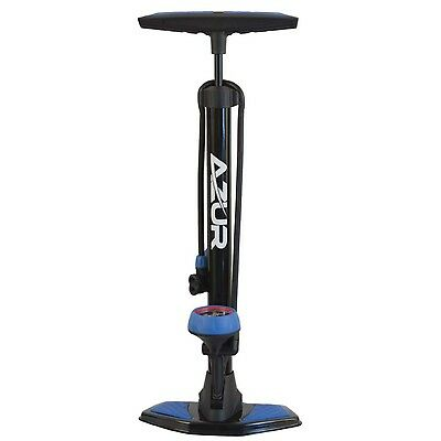 Azur SP45 Alloy Bike Foot Floor Pump Dual Head With Gauge BLUE AAFPDHBKBL