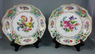 "-2- CARL THIEME Dresden HAND PAINTED 8.25"" RETICULATED SCALLOPED PLATES BOWLS"