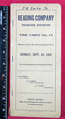 Employee Timetable - 1929 Reading Company - Reading Division No. 13
