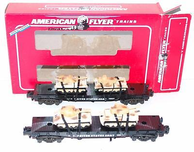 American Flyer 6-48507 US Army 2 Flatcars w/4 Desert Tanks military Allied flags