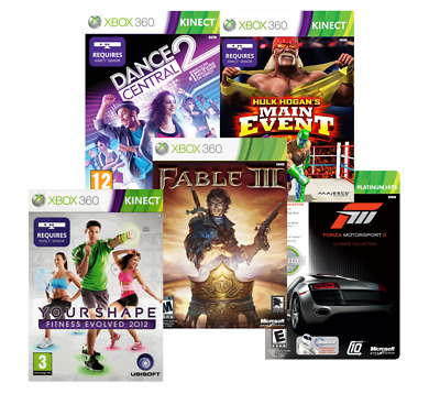 XBOX 360 5 Pack Bundle Forza MS3 Fable 3 Hulk HME Dance Central Your Shape FE12
