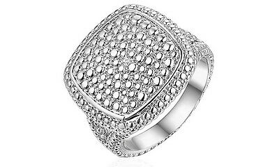 NEW 18K White Gold Plated Diamond Accent Square Ring Sz10 $290