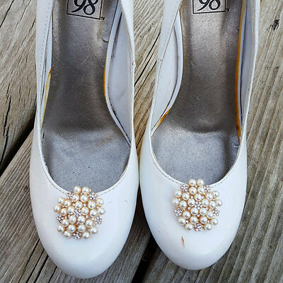 Wedding Shoe Clips, Bridal Shoe Clips, Shoe Clips, Pearl Rhinestone Shoe Clips