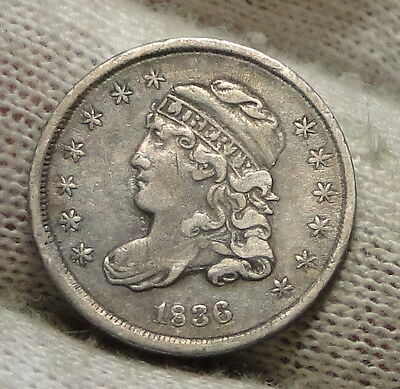 1836 Capped Bust Half Dime H10C 5 Cents - Nice Old Coin, Free Shipping  (4780)