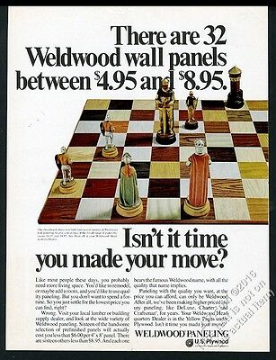 1970 Weldwood wall paneling chess board set photo vintage print ad