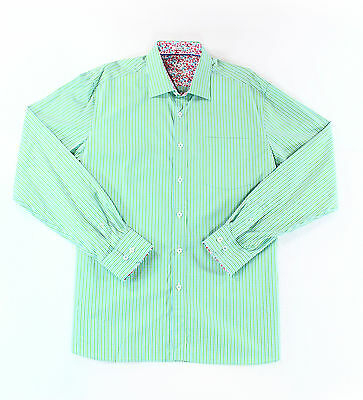 Bugatchi Uomo NEW Green Mens Size Large L Check Button Down Shirt $129 #388 DEAL