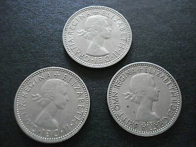 1953 Great Britain 1 Shilling And 2 1963 1 Shilling Coins Lot Of 3