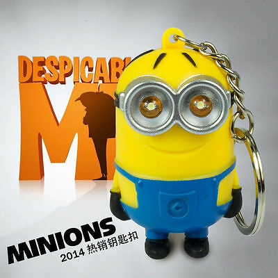 3D Cartoon Minion Light Up LED Torch,Talking I LOVE YOU Keyring Keychain USYS1##