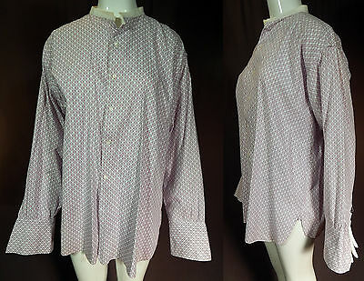Vintage Duval 1920s Men's Band Collar French Cuffs Cotton Grid Print Dress Shirt