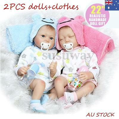 22'' Handmade Real Looking Silicone Lifelike Reborn Baby Dolls Twins Girl Boy