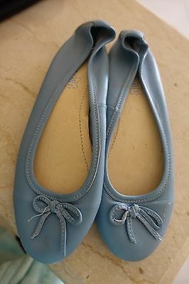 Pale Blue Leather Prestigia Ballet Flats 39 lovely worn once