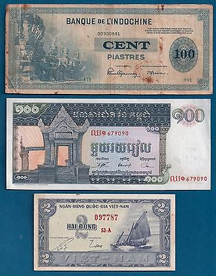French Indo-China 100 Piastres 1945 P78, Cambodia, South Vietnam 2 Dong 1955 Lot
