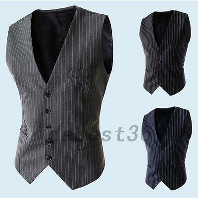 Men's Sleeveless Business Pinstripe Formal Suit Vest Waistcoat Top Lined Buttons