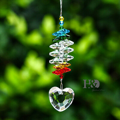 Clear Crystal Love Heart Prisms Suncatcher Pendants Hanging Rainbow Gifts Decor