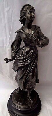 2 Vintage Spelter Metal Statues with wooden base  (028)