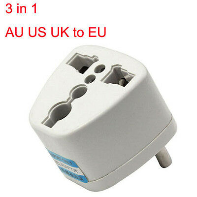 Universal AU US UK to EU AC Power Plug Travel Adapter Outlet Converter Socket