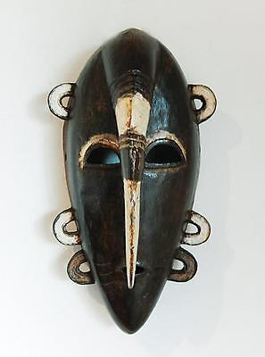 FINE OLD DJIMINI WEST AFRICAN COTE D'IVOIRE HORNBILL TRIBAL MASK MID 20thC
