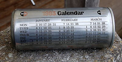 "lovely old ""1983"" calendar drinks can : MB Metal Box factory sample"