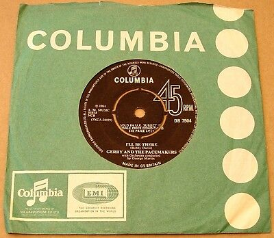 "Gerry & The Pacemakers : I'll Be There UK Columbia 7"" 45 1965 - Label Variation"