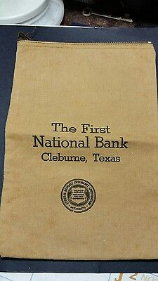 Vintage Cloth Zippered First National Bank, Cleburne, Texas