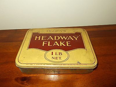 """VINTAGE TIN """"OGDEN'S"""" HEADWAY FLAKE TOBACCO TIN - 1lb net weight - USED COND"""
