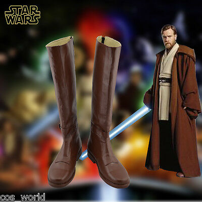 Jedi Knight Cosplay Shoes Obi-Wan Winter Brown Knee High Leather Boots