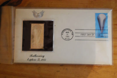 United States 22K Gold Foil First Day Cover Ballooning