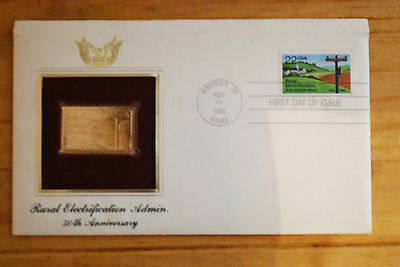 United States 22K Gold Foil First Day Cover Electrification Admin.