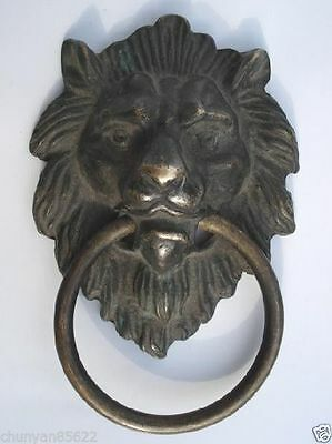 6.9x10.9cm Chinese Old Bronze Fierce Majestic Lion's Head Lion Door Knocker