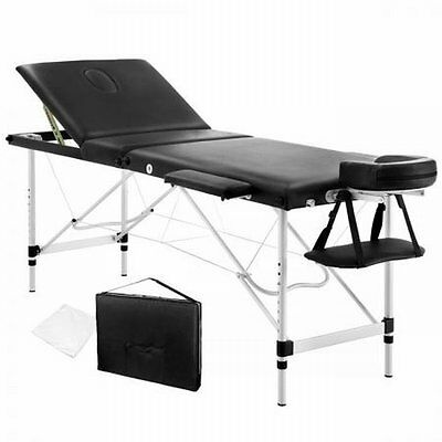 NEW 60cm Wide Portable Aluminium Frame 3 Fold Massage Table Chair Bed - Black