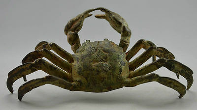 Collectible Vintage Old Handwork Bronze Carved Crab 8 Side Bring wealthy Statues