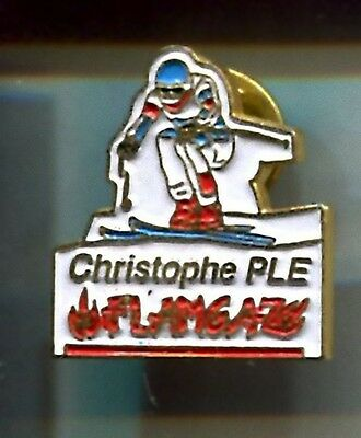 Rare Pins Pin's .. Sport Ski Skiing Christophe Fle Tabac Briquet ~A1
