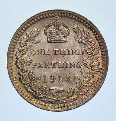 1913 Third Farthing British Coin From George V Bu