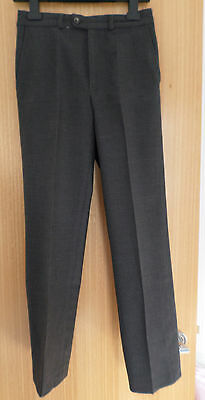 "Stevensons Boys Grey Wool Mix School Uniform Tailored Trousers Waist 26"" Leg 28"""